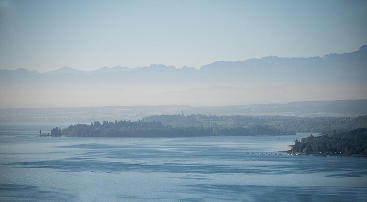 illa mainau, Llac de Constança, flor, illa, veure, boira, Llac