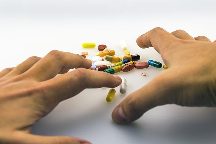 mans, un, productes medicinals, medicació, drogues, addicció, mèdica