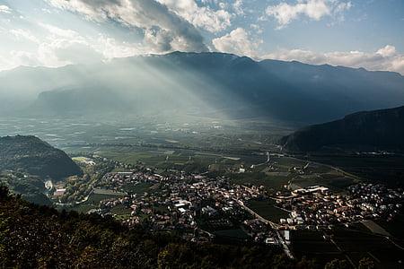 Vista aérea, montanhas, paisagem, aérea, cênica, Vale, cenário