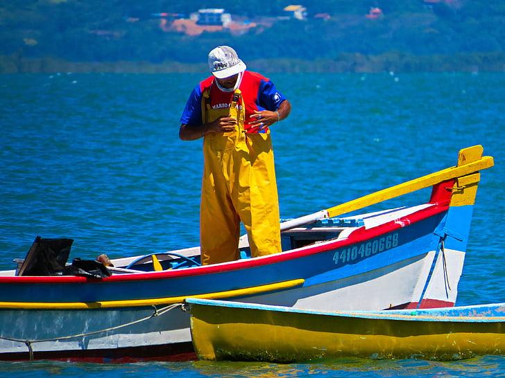 fisherman, boat, sea