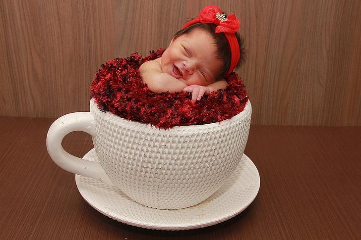 nadó, l'amor, infantil, nadó, tassa de te, somriure, valent nadó