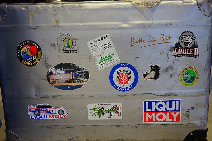 equipatge, estoigs metàl·lics, utilitzat, adhesiu, encolats, bé viatjar, maleta de viatge