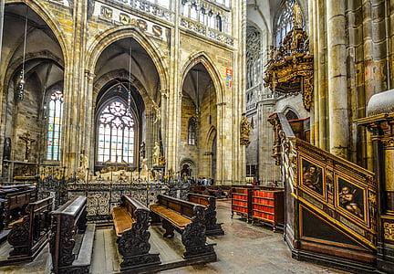 religió, l'església, Catedral, Vitus, Praga, interior, atmosfèrica