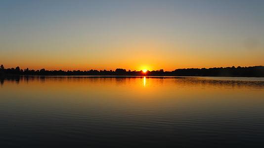 Alba, Llac, morgenstimmung, sol, reflectint, cel, natura