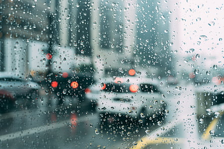 blur, cars, dew, drops, drops of water, glass, liquid