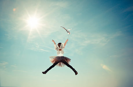 child, costume, fairy, fly, girl, heaven, jump