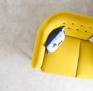 sofà, mobles, sala d'estar, sala d'estar, seient, sofà, coixí de tir