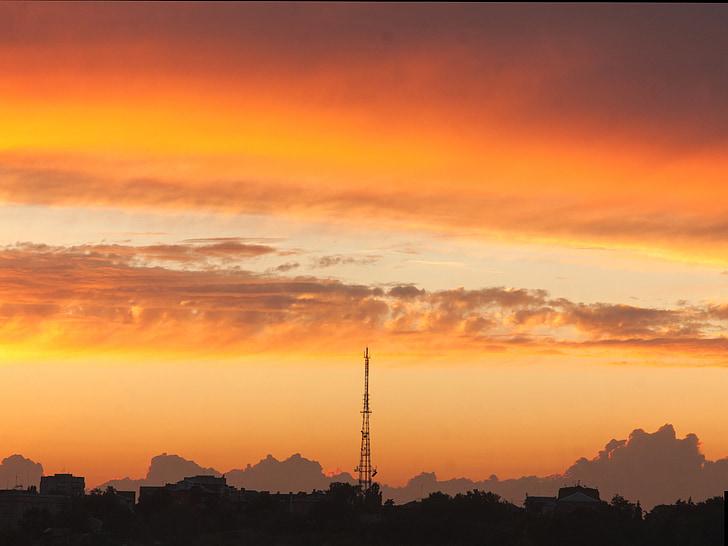 Закат, облака, вечернее небо, небо, Оранжевое небо