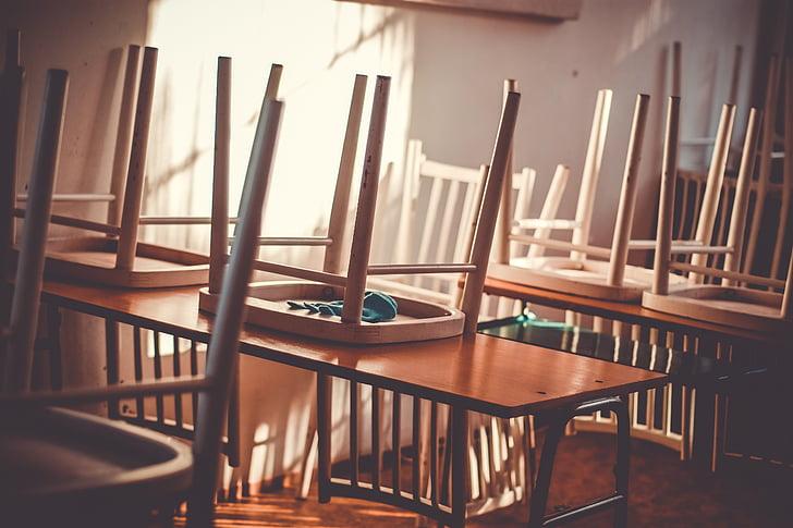 klassi, klassis, Double, kooli, tühi, interjöör, toolid