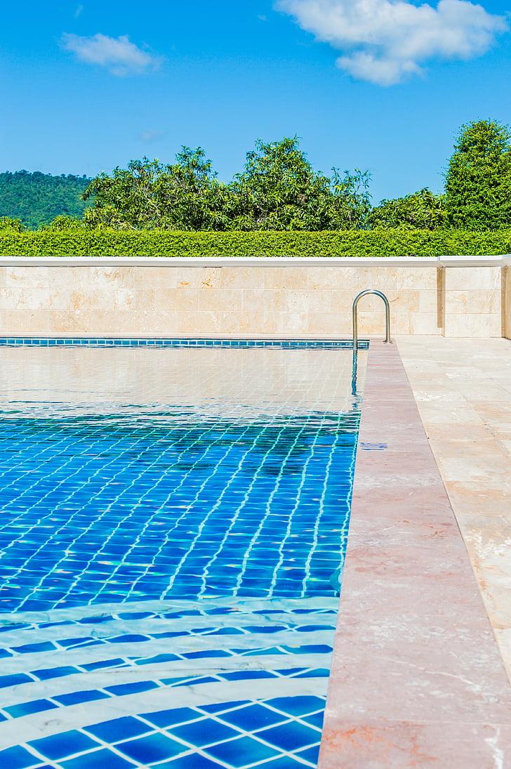 basseng, blå, svømming, vann, farge, bakgrunn, Sommer
