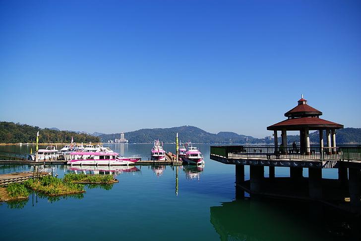 Taiwan, lac Sun moon, paysage, bateau nautique, eau, nature, voyage