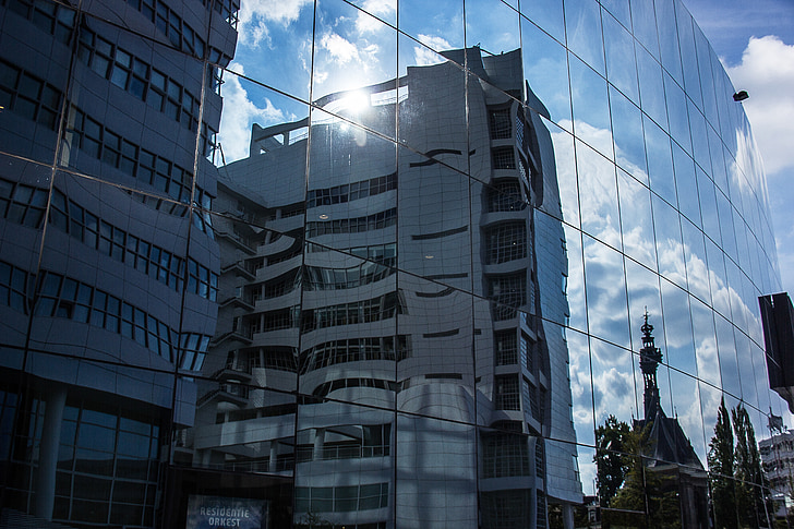 arhitektura, stavb, odsev, Haagu, Nizozemska