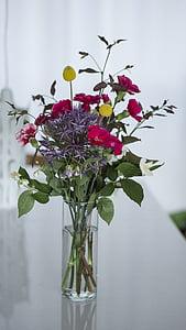 ช่อดอกไม้, ช่อดอกไม้, ดอกไม้, ในร่ม, ในที่ร่ม, แจกัน