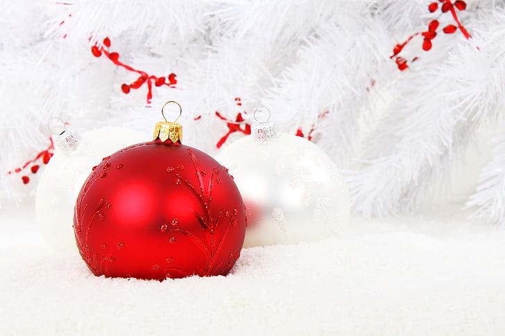 adorno de Navidad, rojo, bola, celebración, Navidad, decoración, vidrio