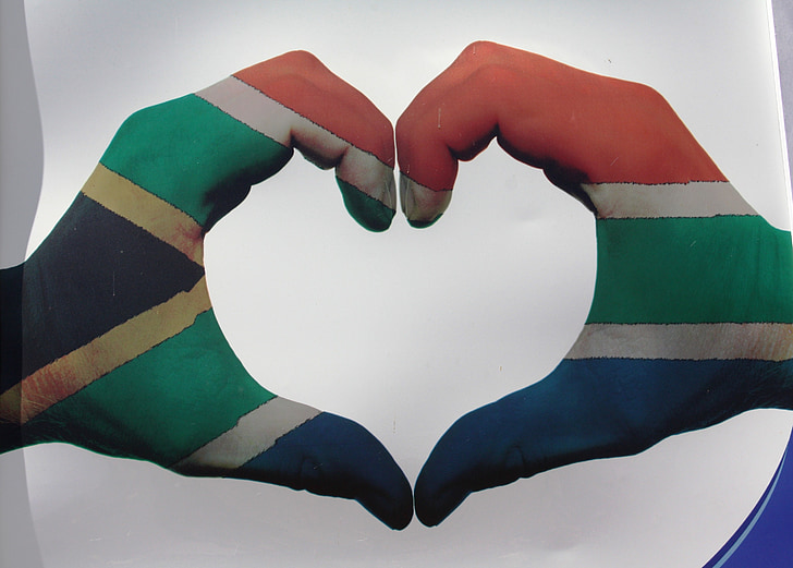 heart, south africa flag, love symbol, symbol, south africa, hands