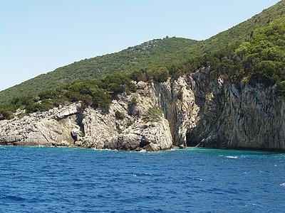 pobrežie, modré more, zelené kamene