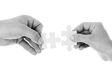 connectar, connexió, cooperació, mans, celebració, aïllats, trencaclosques