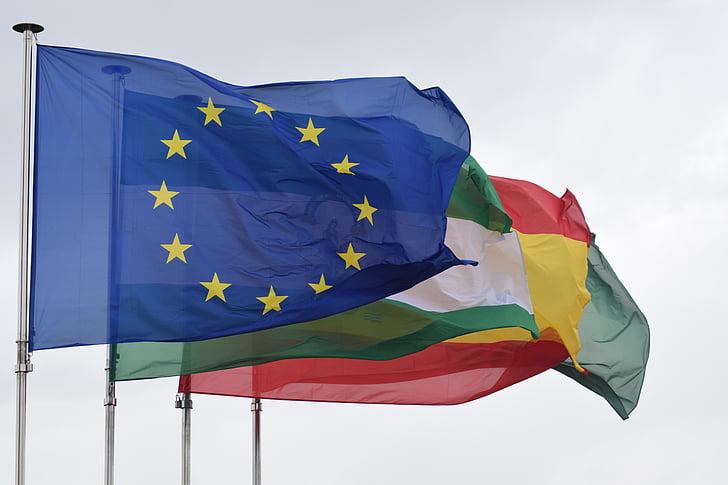 banderes, Bandera de la Unió Europea, Unió Europea, Bandera d'Andalusia, Bandera d'Espanya, Nacions, Andalusia