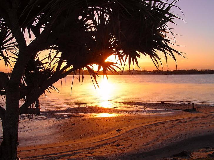 sortida del sol de platja, tranquil, Costa