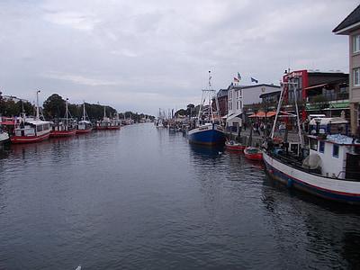 Warnemünde, gamla makt, Tyskland, fartyg, fiskebåt, abendstimmung, hamn