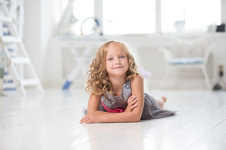 girl, lying, young, room, white, cute, happy