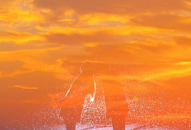 Hôn, Yêu, màu da cam, Cặp vợ chồng, người phụ nữ, trẻ, người đàn ông