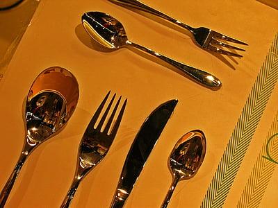 coberts, Cullera, forquilla, ganivet, culleradeta, metall, menjar