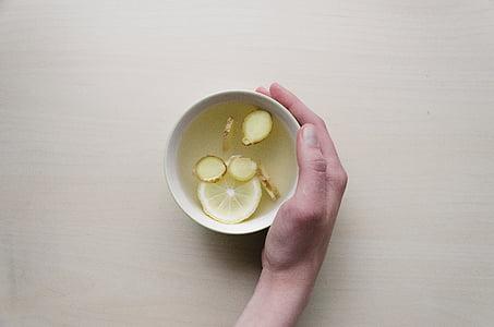 human, hand, holding, white, ceramic, bowl, filled