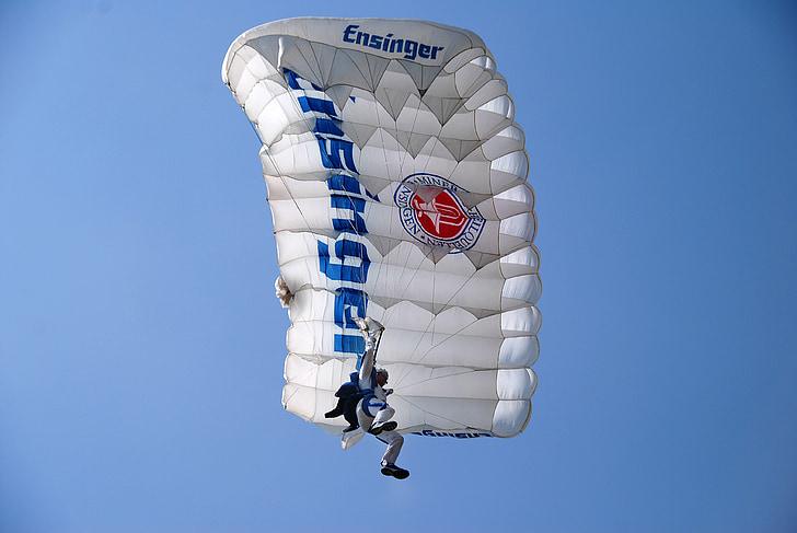 sky, parachutist, parachute, air, sport, extreme, adventure