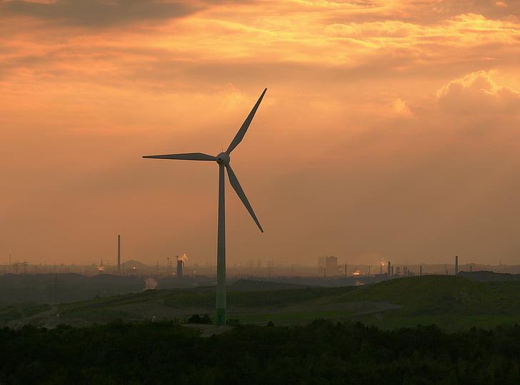 바람개비, abendstimmung, ruhr 지역, 저녁, 바람 에너지, 스카이, 저녁 하늘