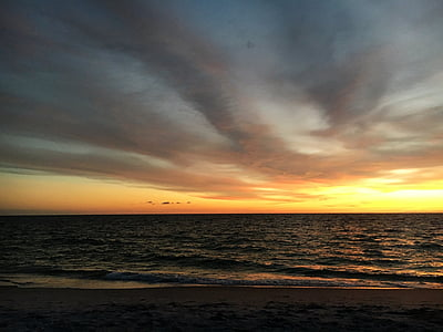 posta de sol, platja, platja, posta de sol de platja, Mar, cel, Costa
