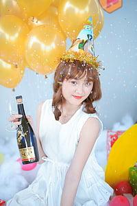 aniversari, xampany, noia, pastís, globus, feliç, dia
