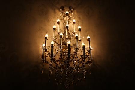 lysekrone, Vintage, interiør, dekorasjon, elegante, design, antikk