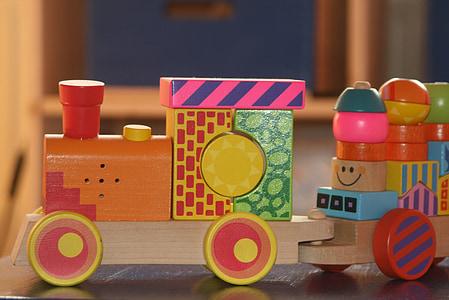 train, railway, locomotive, wood, colorful, toys, children