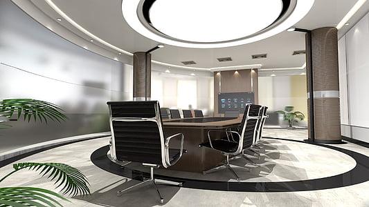 taula rodona, llum, disseny d'interiors, TV, multi-pantalla, Oficina, sala de conferències