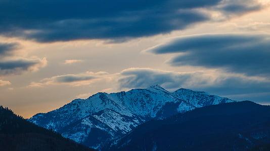 Bergen, landschap, natuur, in de bergen, zonsondergang, hemel, berg