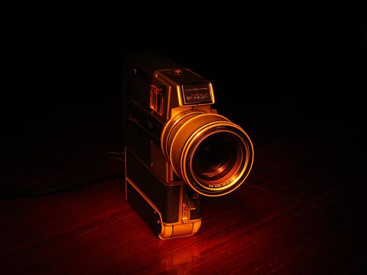 kamera, reflekss, vecais, filmadora, vīnogu novākšanas, lēcas, kameras objektīvs