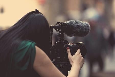 여자, 복용, 사진, 사용 하 여, dslr 카메라, 카메라, 사진 작가