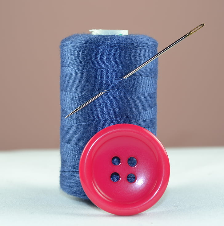 fil, blau, botó, agulla, cosir, bobina de fil, vermell