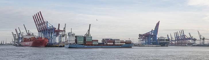 端口, 汉堡, 集装箱, 起重机, 货船, 海, 集装箱码头