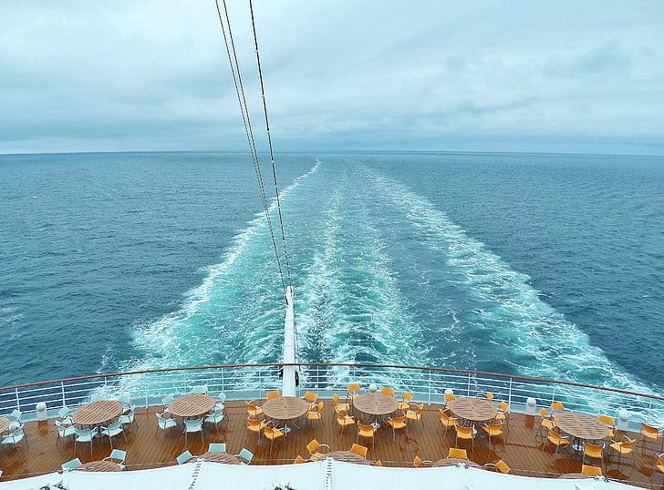 kryssning, fartyg, Aida, brett, Infinity, havet, våg