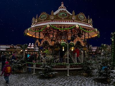 christmas, kids christmas, nuremberg, carousel, christmas greeting, greeting card, christmas motif