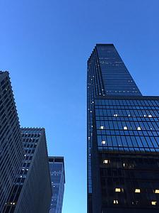 tornid, pilvelõhkuja, hoonete, sinine, arhitektuur, büroohoone, linna areenil