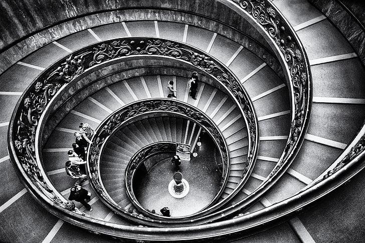 Vatikanet, trapp, grafikk, Roma, trapp, trapper, geometri