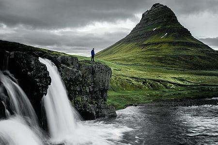 natura, forme de relief, munte, iarba, verde, apa, cascade