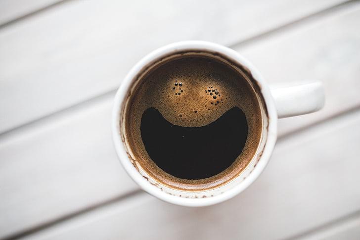 káva, pohár, Veselé, úsměv, pondělí, práce, pracovní