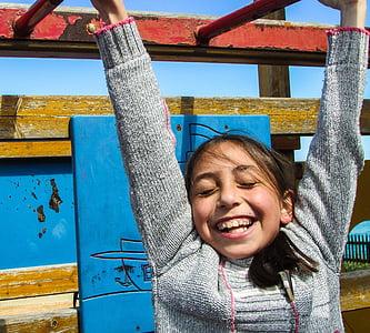 noia, jugant, rient, nen, diversió, feliç, esforç