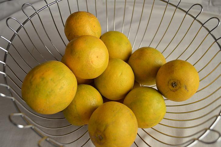 calç, groc, Agra, cítrics, cistella, fruites, sucoses