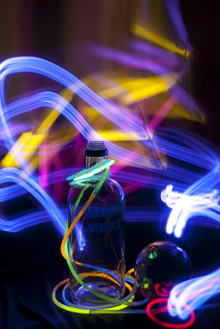 stranka, Neon, boca, svjetla, kretanje, učinak, alkohol