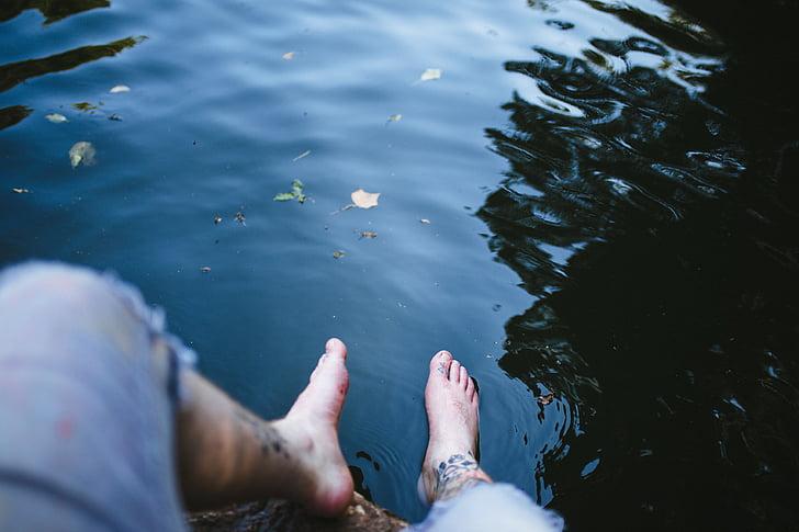 humà, s, peus, l'aigua, peu, cames, persones